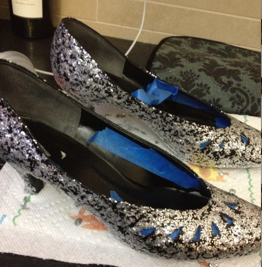 first coat of glitter shoes.