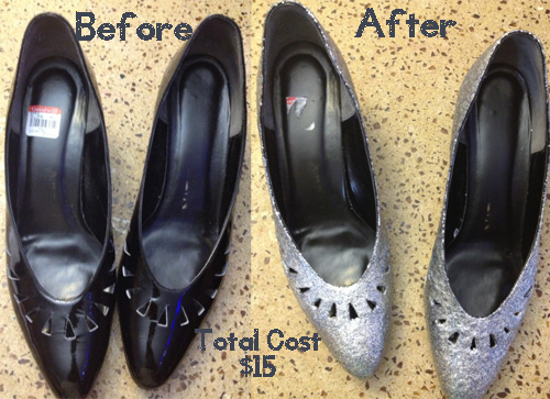 before and after diy glitter shoes tutorial and #craftfail