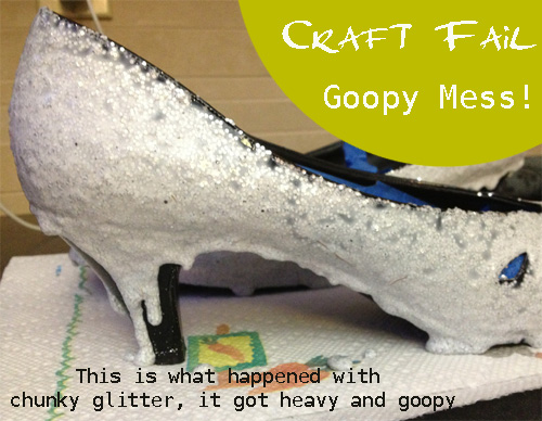 #craftfail goopy mess diy glitter shoes