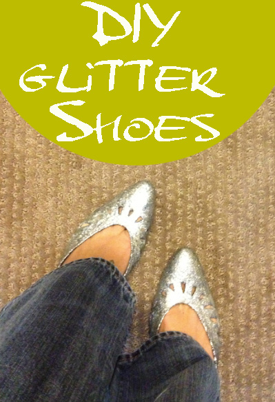 glitter shoes diy tutorial easy cheap thrift upcycle mod podge holiday party