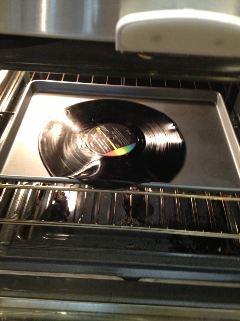 vinyl record melting soften in oven to make lampshade