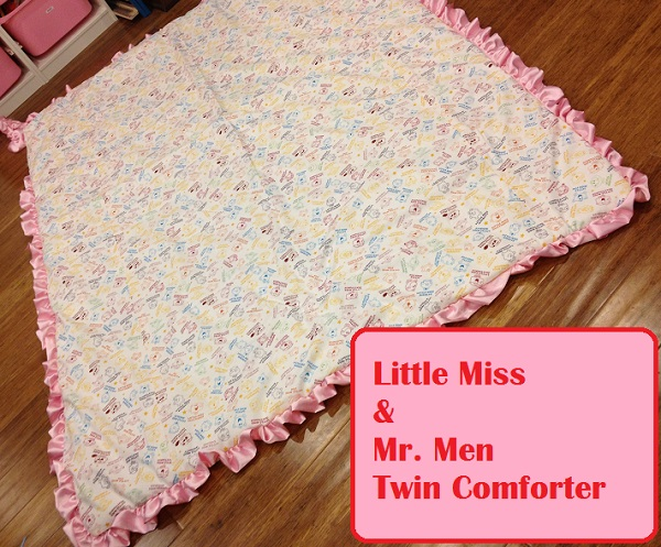 little miss and mr. men mr men comforter twin size beddding kids diy fabric