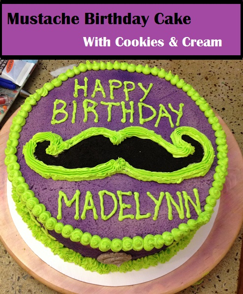 Mustache birthday cake with cookies and cream frosting