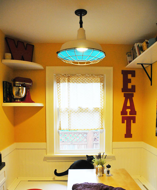 My kitchen nook diy upcycled industrial light fixture for Diy kitchen light fixtures