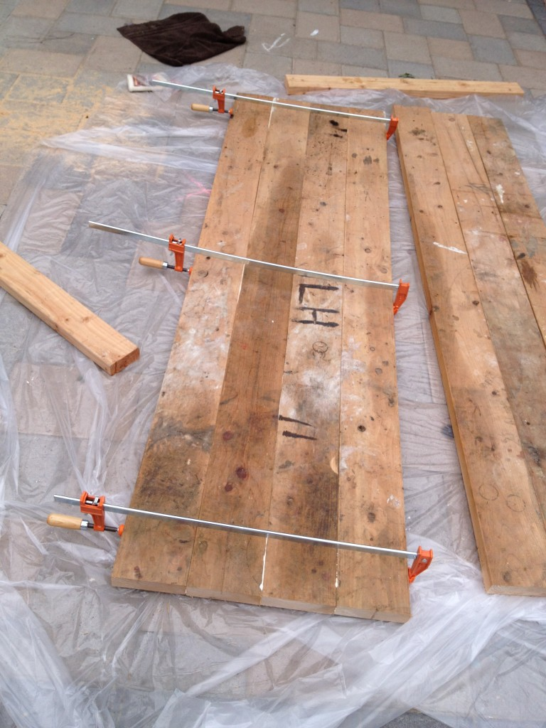 diy barn door wood glue pipe clamp