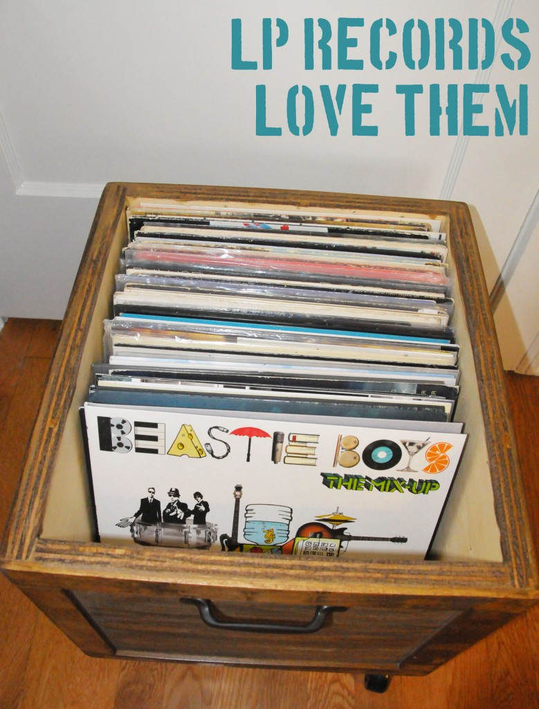 Diy Vinyl Record Lp Storage Box On Wheels Stained Wood Solid
