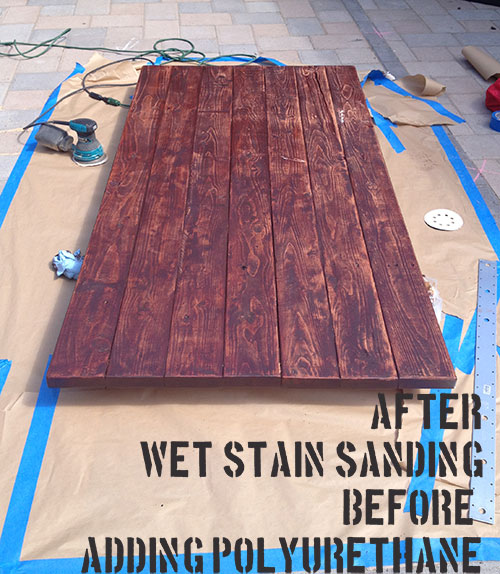 wet stain sanding diy barn door