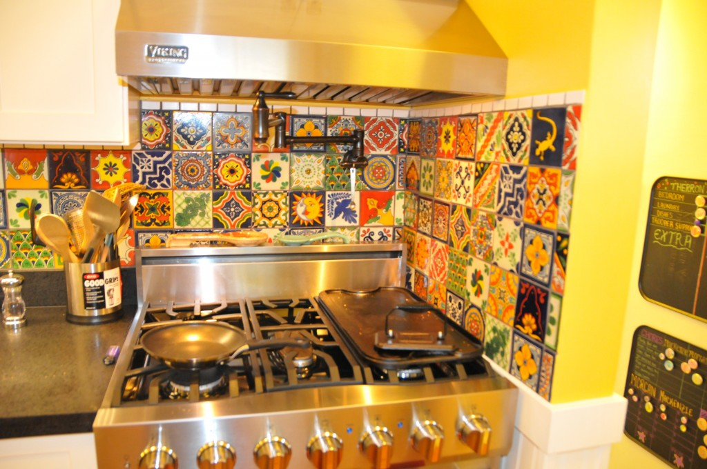 Eclectic Mixed Talavera Tile Backsplash