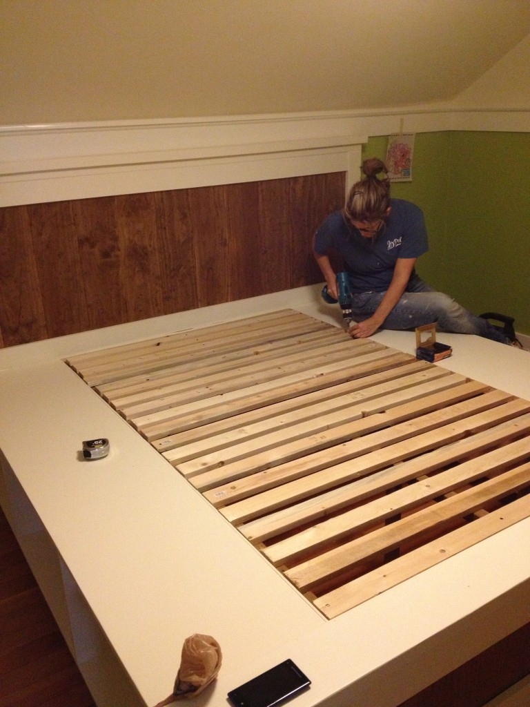 last step! adding the bed slats