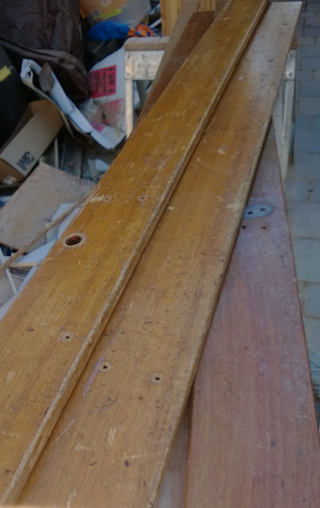 salvaged bleacher boards mahogony second use