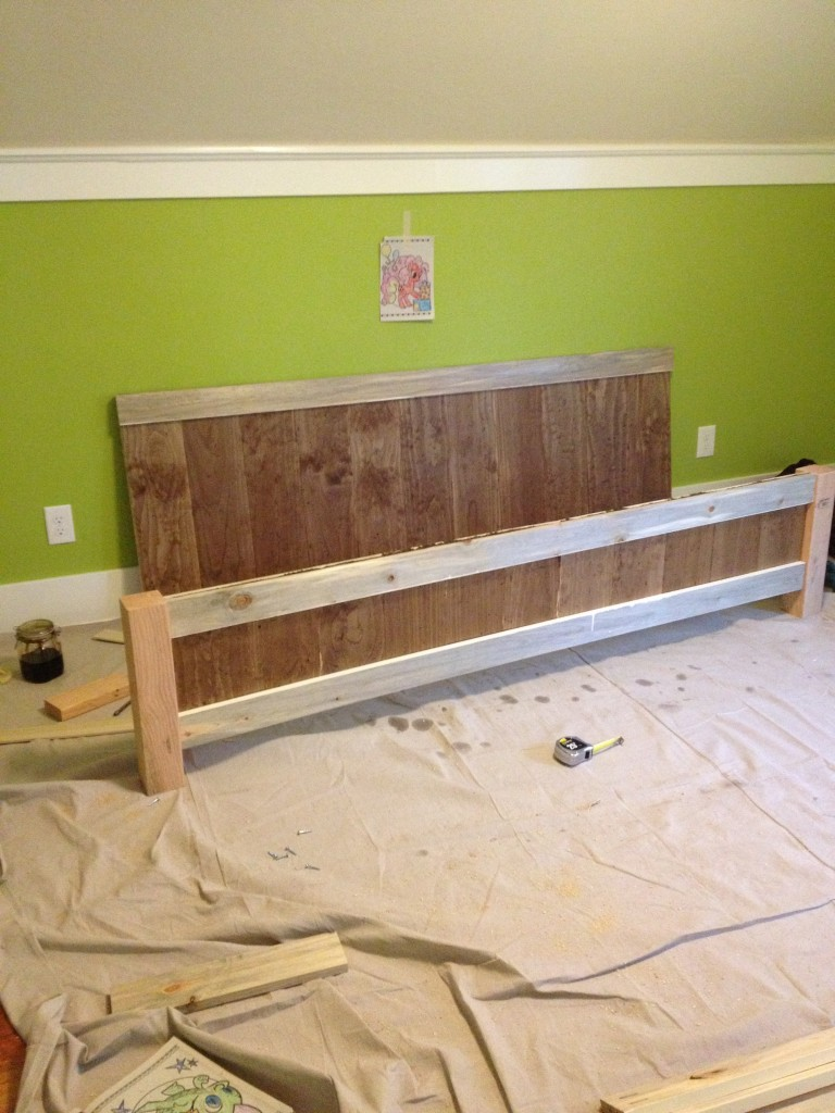 Headboard and footboard done. I chose to stain and paint doing 2 tone ...