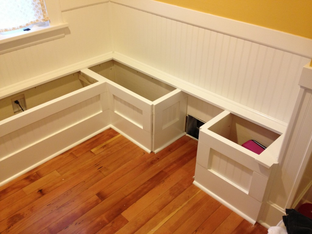 Diy custom kitchen nook storage benches - Kitchen bench diy ...