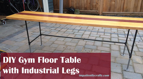 diy gym floor table desk top industrial plumbing legs