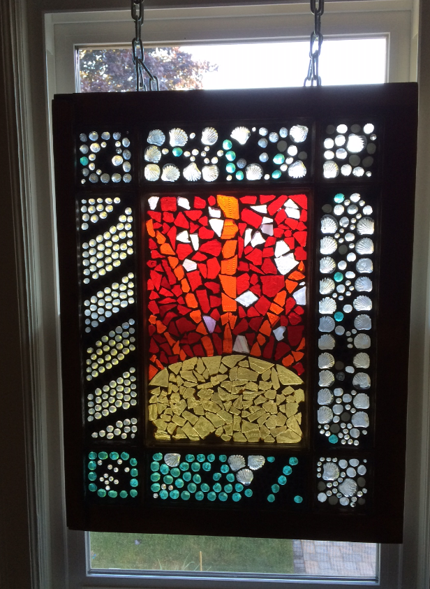 """DIY Stained Glass """"Mosaic"""" on an Old Salvaged Window"""