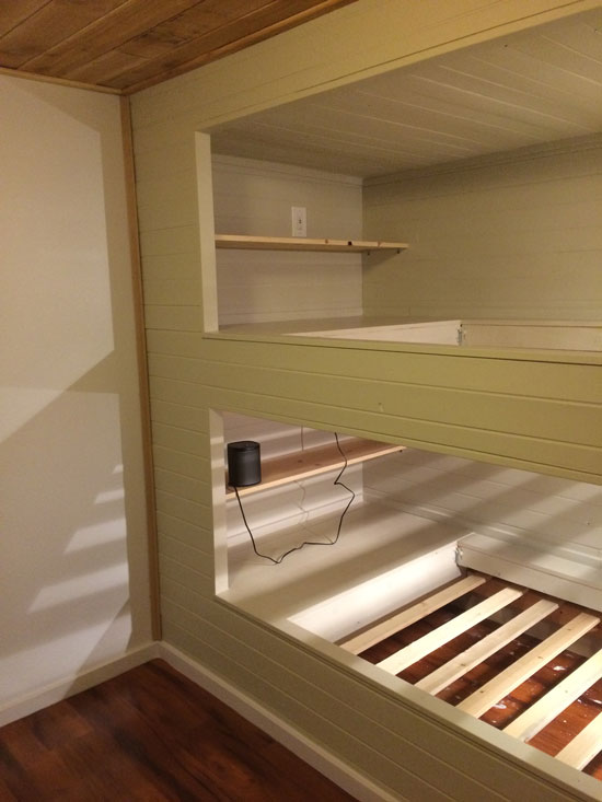 footboard diy built in wall to wall bunk beds