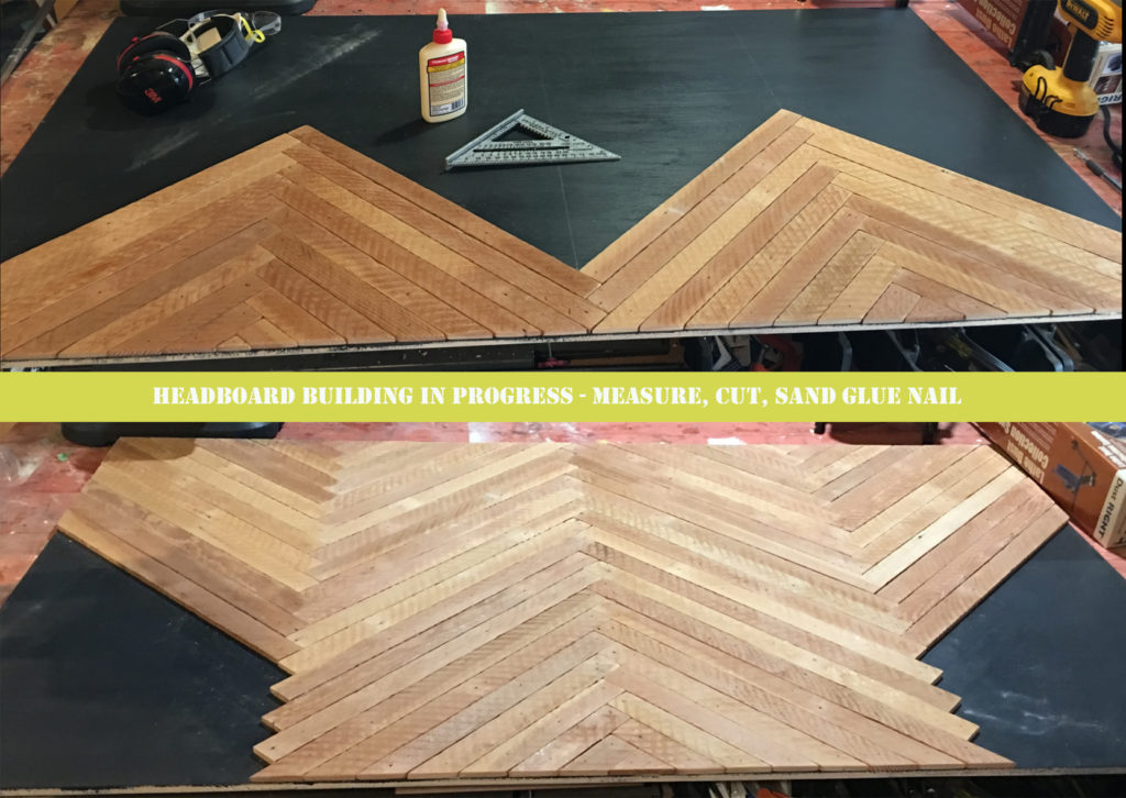 building a herringbone headboard with reclaimed wood