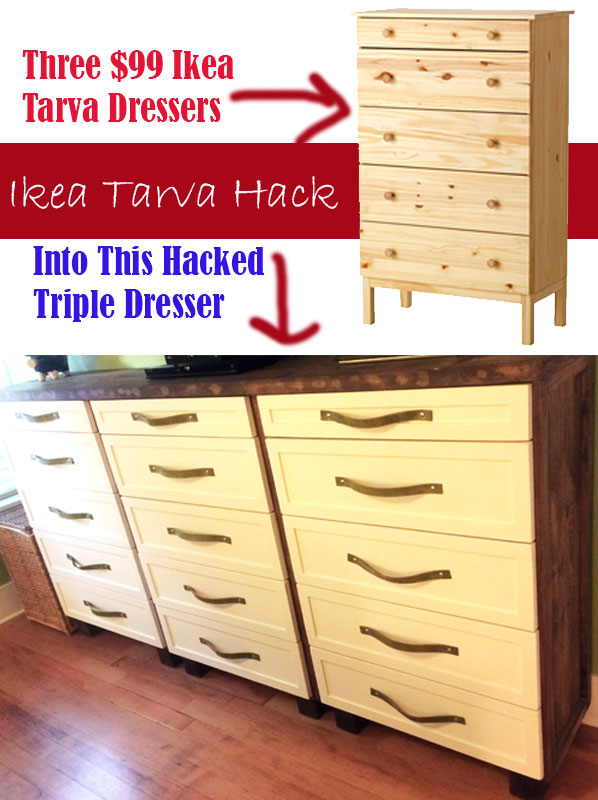 ikea tarva hack into 1 shaker style ish dresser with leather pulls. Black Bedroom Furniture Sets. Home Design Ideas