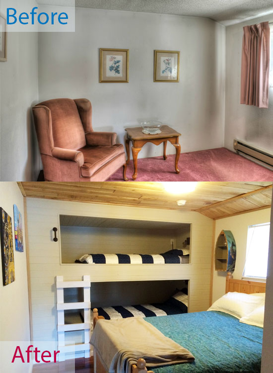 Diy Wall To Built In Bunk Beds And A Full Room Remodel